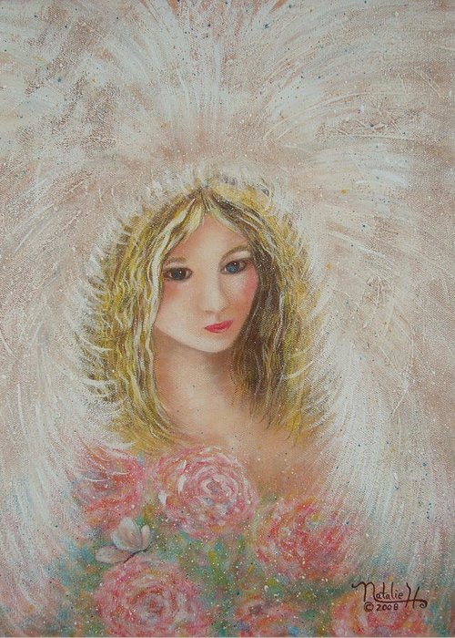 Angel Greeting Card featuring the painting Heavenly Angel by Natalie Holland