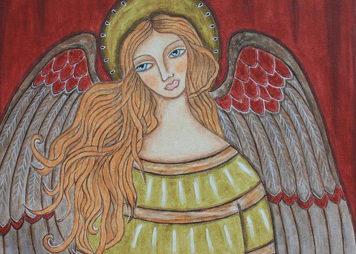 Folk Art Paintings Greeting Card featuring the painting Heavenly Angel by Rain Ririn