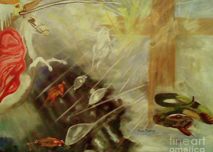 Sword Greeting Card featuring the painting Heavenly Finale by Paula Maybery