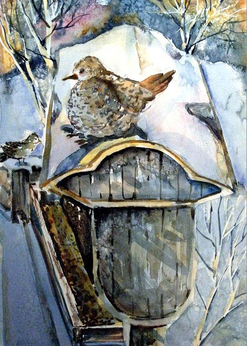 Dove Greeting Card featuring the painting Heavenly Peace by Mindy Newman
