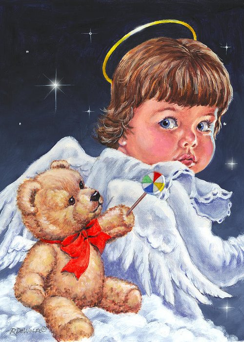 Angel Greeting Card featuring the painting Heavenly by Richard De Wolfe