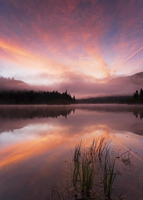Sunrise Greeting Card featuring the photograph Heavenly Skies by Mike Dawson