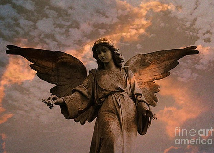 Angel Art Greeting Card featuring the photograph Heavenly Spiritual Angel Wings Sunset Sky by Kathy Fornal