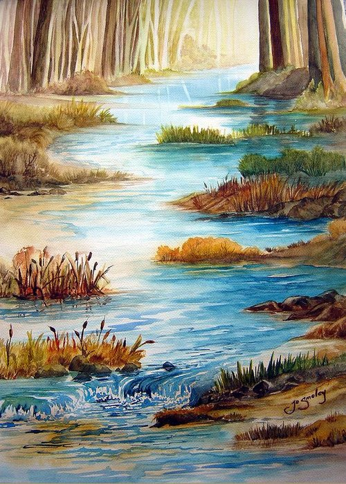 Heavens Gift Water Trees Landscape Greeting Card featuring the painting Heavens Gift by Joanne Smoley