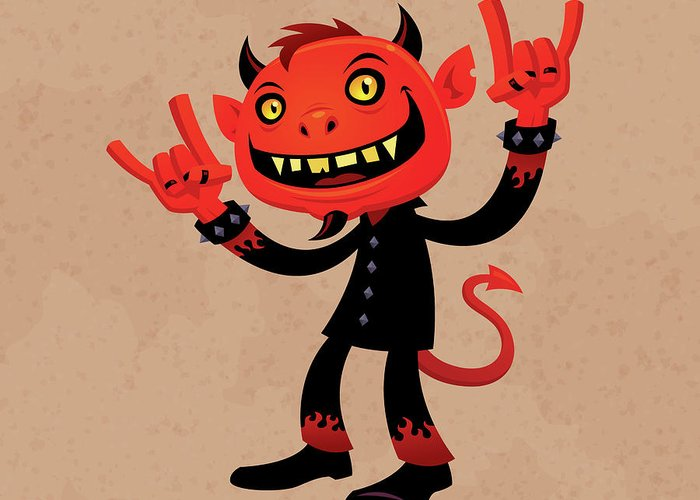 Heavy Metal Greeting Card featuring the drawing Heavy Metal Devil by John Schwegel