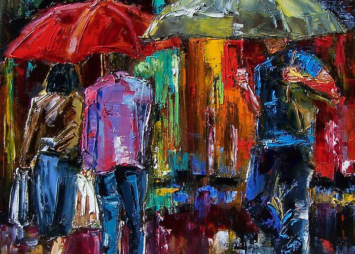 Street Scene Greeting Card featuring the painting Heavy Rain by Debra Hurd