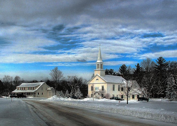 Snow Greeting Card featuring the photograph New Snow On Hebron Common by Wayne King
