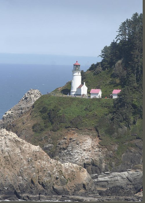 Lighthouse Greeting Card featuring the photograph Heceta Head Lighthouse Li 9000 by Mary Gaines