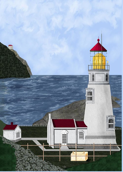 Lighthouse Greeting Card featuring the painting Heceta Head Oregon by Anne Norskog