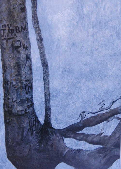 Tree Trunk Greeting Card featuring the painting Hedden Park II by Leah Tomaino