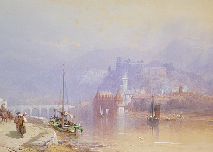 Heidelberg Greeting Card featuring the painting Heidelberg by Thomas Miles Richardson