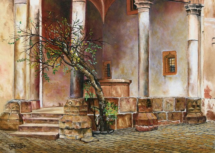 Oil Greeting Card featuring the painting Heidleburg Castle Well by Christopher Keeler Doolin