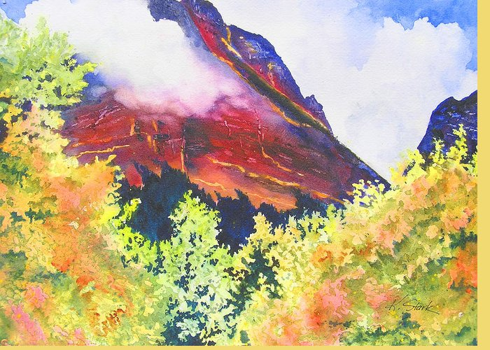 Mountain Greeting Card featuring the painting Heights Of Glacier Park by Karen Stark