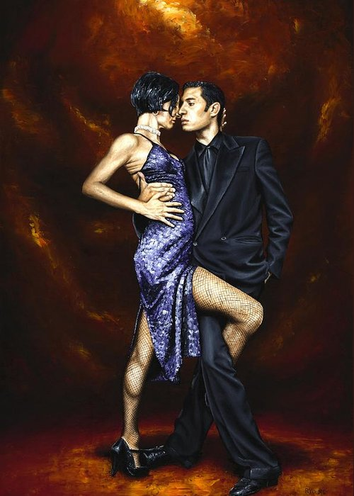 Tango Dancers Love Passion Female Male Woman Man Dance Greeting Card featuring the painting Held In Tango by Richard Young