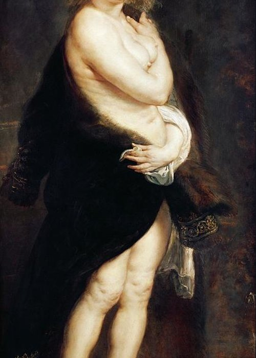 Helena Greeting Card featuring the painting Helena Fourment In A Fur Wrap by Rubens