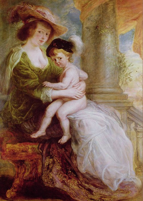 Helene Greeting Card featuring the painting Helene Fourment And Her Son Frans by Rubens