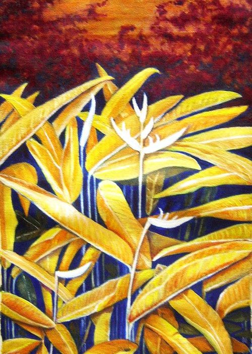 Heliconia Greeting Card featuring the painting Heliconia by Usha Shantharam