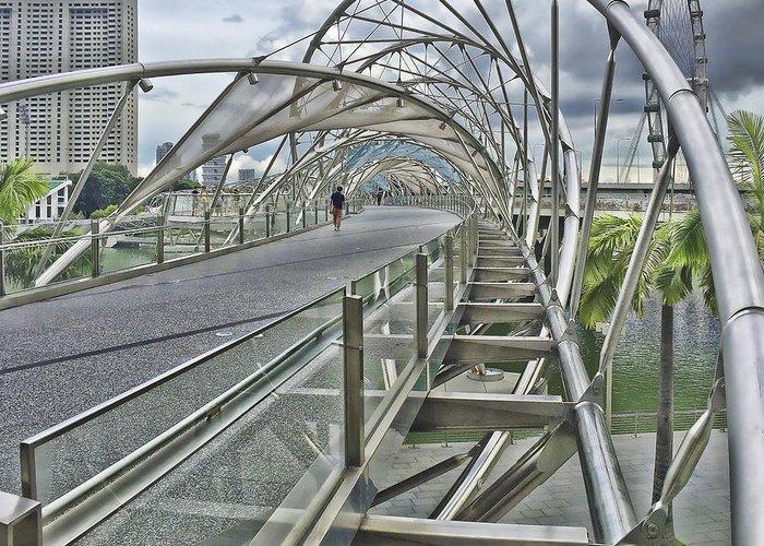 Bridge Walkway Helix Singapore Greeting Card featuring the photograph Helix Bridge by Alan Kepler