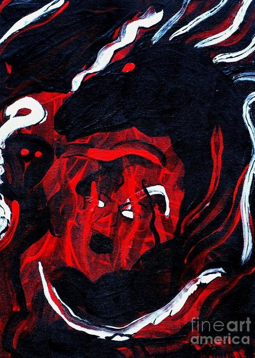 Horse Woman Red Black Silver Greeting Card featuring the painting Hell Beast by Dawn Downour