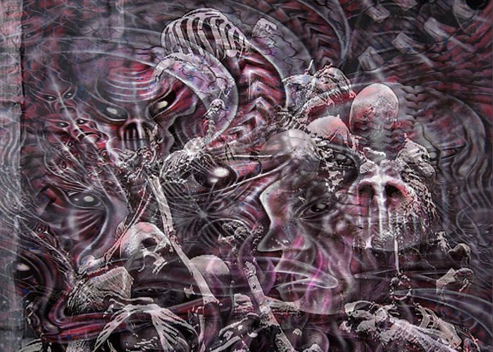 Hell Greeting Card featuring the mixed media Hell Burial by Leigh Odom