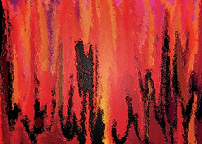 Hell Greeting Card featuring the digital art Hell by Andrea N Hernandez