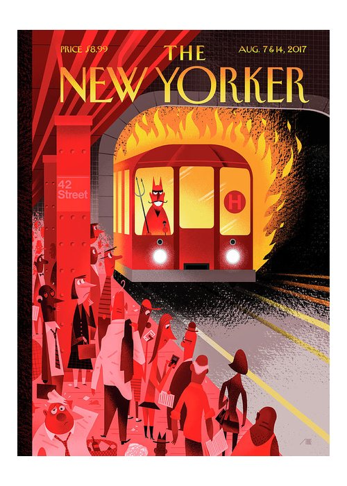 Hell Train Greeting Card featuring the drawing Hell Train by Bob Staake