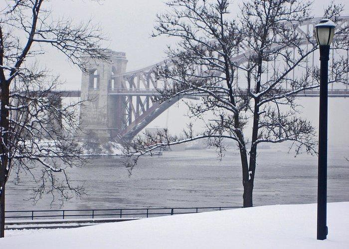 Bridges Greeting Card featuring the photograph Hellgate 2 by Bernadette Claffey