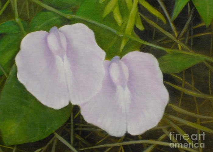 Botanical Greeting Card featuring the painting Hello  Psssst  Down Here by M J Venrick
