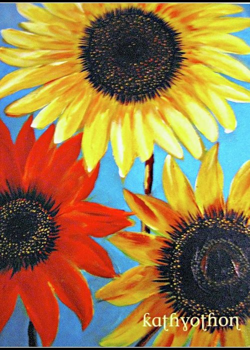 Sunflowers Greeting Card featuring the painting Hello Sunshine by Kathy Othon