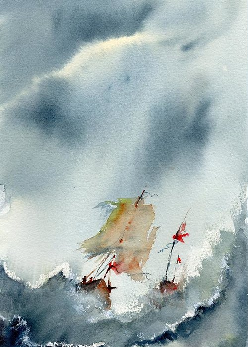 Ship. Boat Greeting Card featuring the painting Help At Last by Paul K Taylor