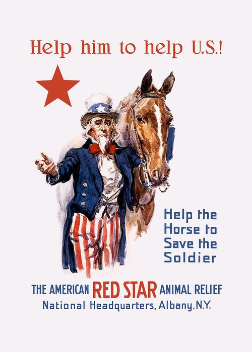 Animal Relief Greeting Card featuring the painting Help The Horse To Save The Soldier by War Is Hell Store