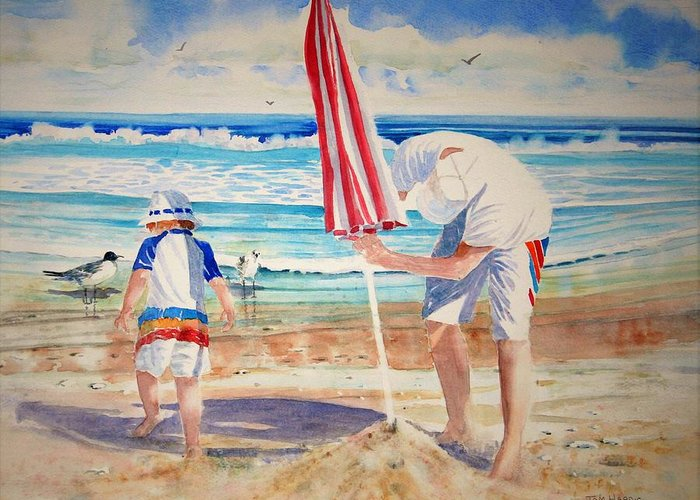 Beach Greeting Card featuring the painting Helping Dad Set Up The Camp by Tom Harris