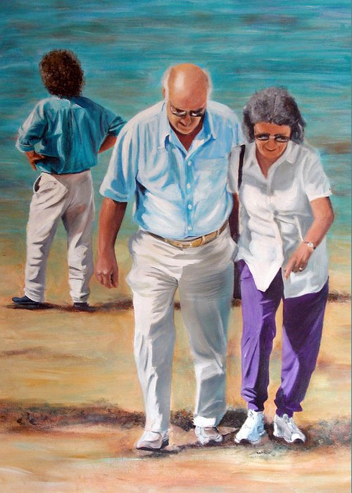 Beach Greeting Card featuring the painting Helping Hand by Fiona Jack