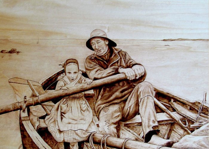 Pyrography; Woodburning; Sepia; Boat; Ocean; Row; Grandpa; Child; Granddaughter; Sailing; Fishing Greeting Card featuring the pyrography Helping Hands by Jo Schwartz