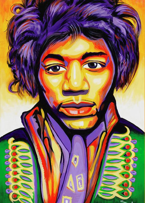 Jimmi Hendrix Greeting Card featuring the painting Hendrix by Amraj Singh Boyal