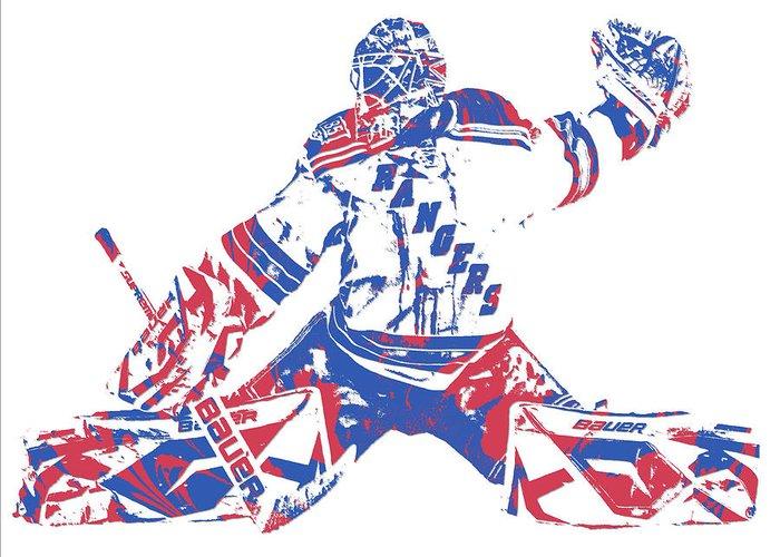 Henrik Lundqvist New York Rangers Pixel Art 6 Greeting Card For Sale