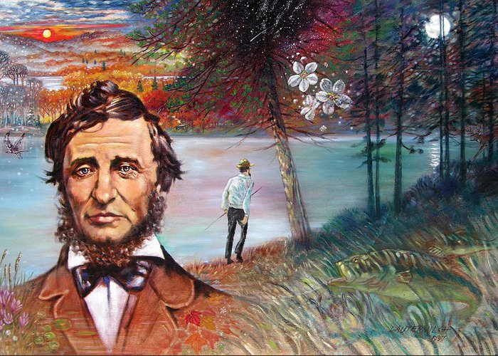 Henry David Thoreau Greeting Card featuring the painting Henry David Thoreau by John Lautermilch