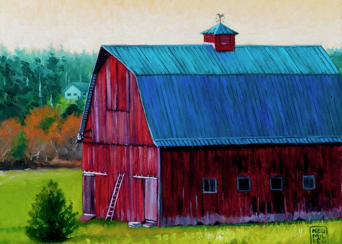 Barn Greeting Card featuring the painting Henry Strong Barn Circa 1928 by Stacey Neumiller