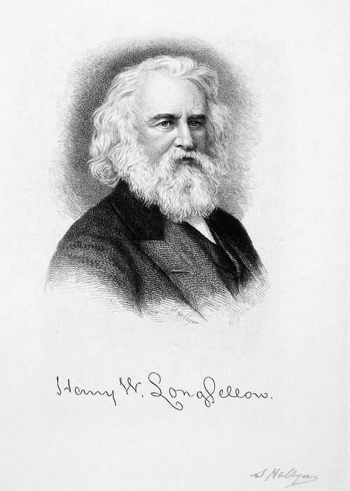 19th Century Greeting Card featuring the drawing Henry Wadsworth Longfellow by Granger