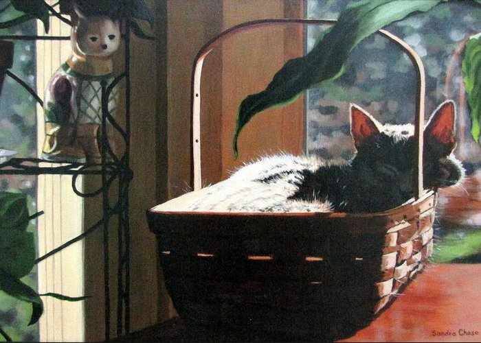 Cat Greeting Card featuring the painting Her Basket by Sandra Chase