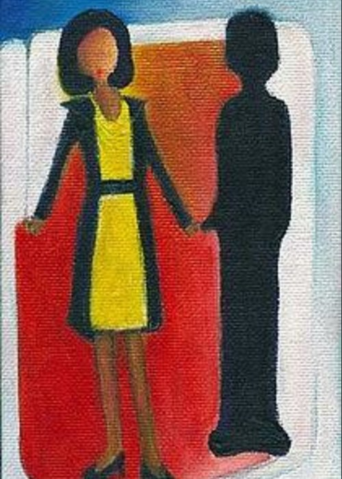 Michelle Obama Greeting Card featuring the painting Her Dark Knight by Ricky Sencion
