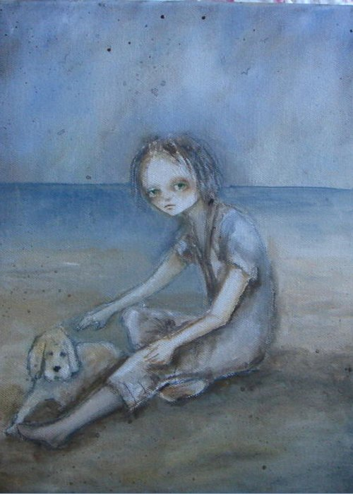 Beach Greeting Card featuring the painting Her Eyes Speak by Mya Fitzpatrick