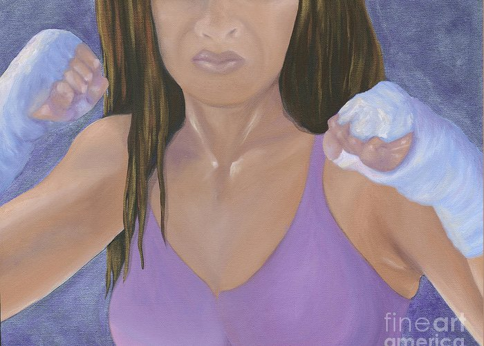 Breast Cancer Survivor Greeting Card featuring the painting Her Fight by Karen Feiling