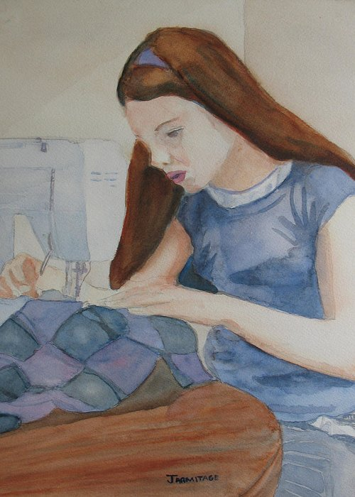 Girl Greeting Card featuring the painting Her First Quilt by Jenny Armitage