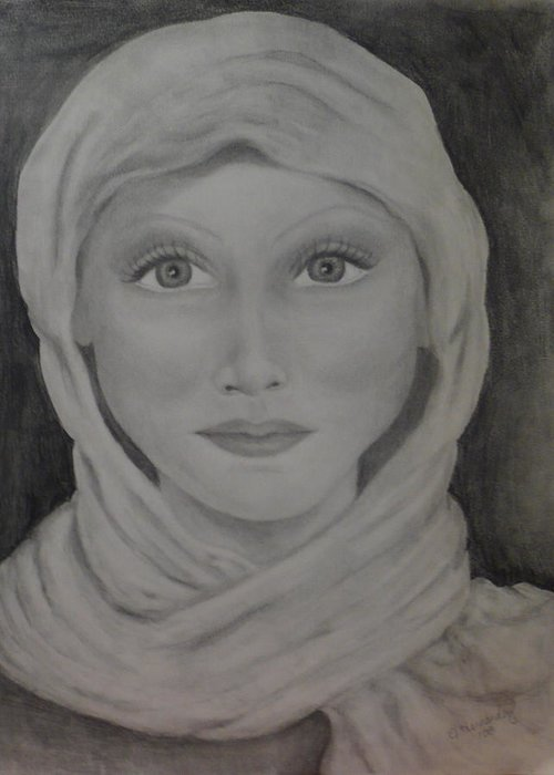 Portrait Greeting Card featuring the drawing Her by Jennifer Hernandez