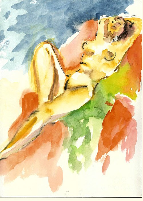 Live Greeting Card featuring the painting Her Last Modelling Night 05 by Tali Farchi