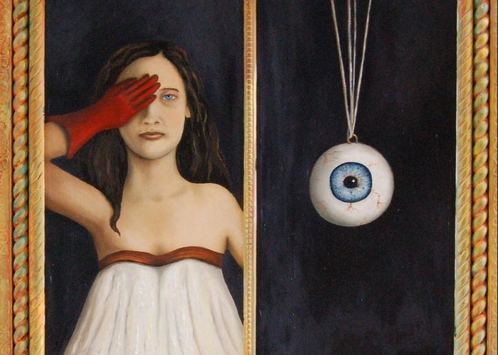 Eye Greeting Card featuring the painting Her Wandering Eye by Leah Saulnier The Painting Maniac