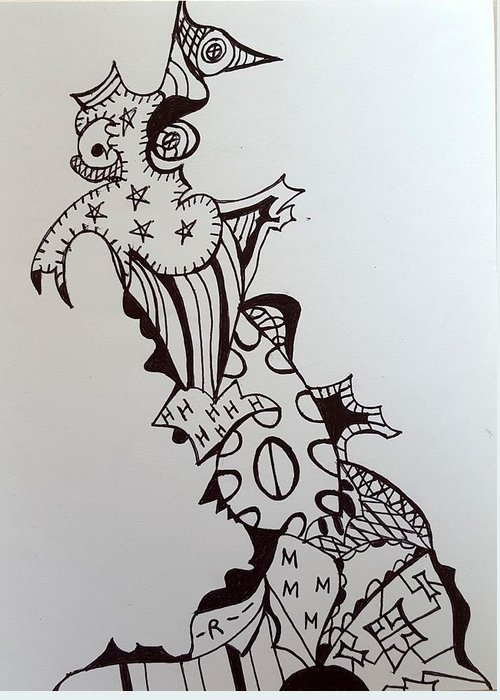 Abstract Greeting Card featuring the drawing Herald by Steven Stutz