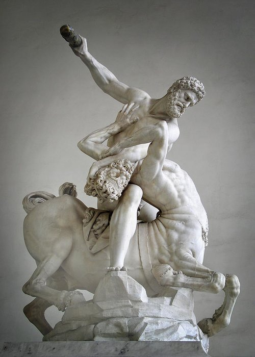 Italy Greeting Card featuring the photograph Hercules And Centaur Sculpture by Artecco Fine Art Photography