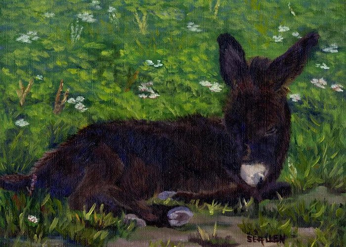 Donkey Greeting Card featuring the painting Hercules by Sharon E Allen